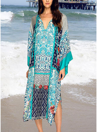 Tropical Print V-neck Cute Cover-ups Swimsuits