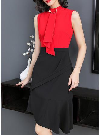 Color-block Stand collar Knee Length Sheath Dress