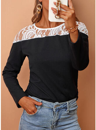 Einfarbig Spitze Rundhalsausschnitt Lange Ärmel T-Shirts