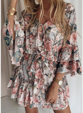 Print/Floral Long Sleeves/Flare Sleeves Sheath Above Knee Casual/Elegant Dresses