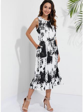 Print 3/4 Sleeves A-line Casual/Elegant Maxi Dresses