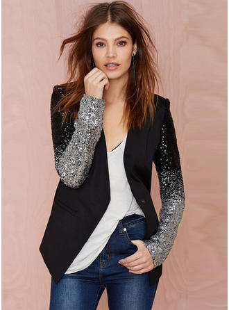 Polyester Long Sleeves Patchwork Blazers