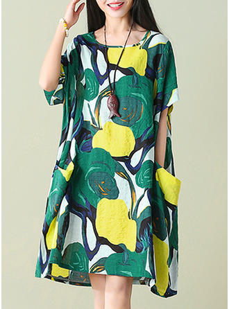 Linen With Print Knee Length Dress