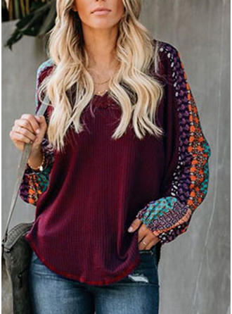 Print V-neck Sweaters
