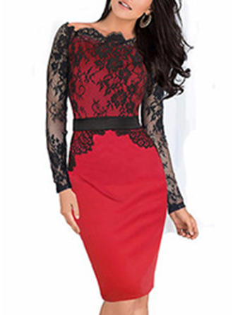 Lace/Patchwork Long Sleeves Bodycon Knee Length Casual Dresses
