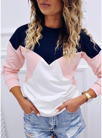 Color Block Ronde nek Lange Mouwen Sweatshirts