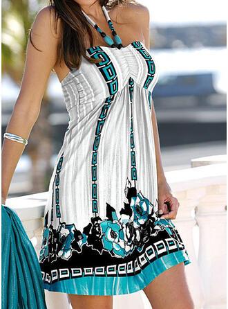 Print Sleeveless Shift Above Knee Sexy/Vacation Dresses