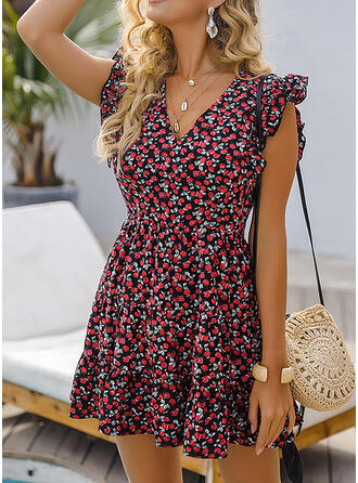 Print/Floral Cap Sleeve A-line Above Knee Casual/Vacation Dresses
