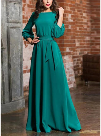 Solid 1/2 Sleeves A-line Maxi Casual/Elegant Dresses
