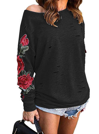 Embroidery Floral Round Neck Sweaters