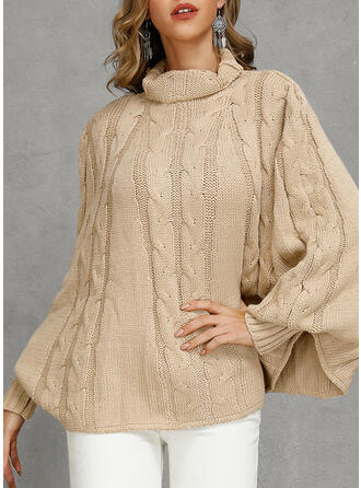 Solid Cable-knit Turtleneck Oversized Casual Loose Sweaters