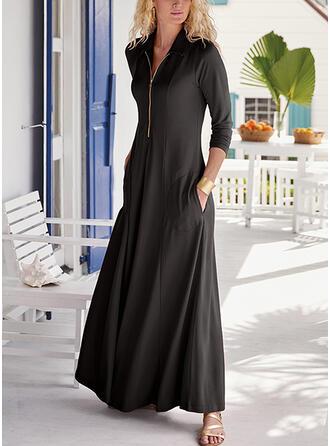 Jednolita Długie rękawy W kształcie litery A Łyżwiaż Mała czarna/Elegancki Maxi Sukienki