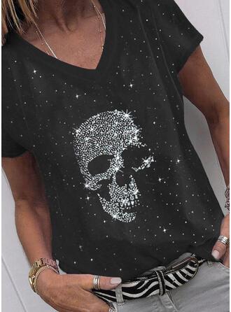 Print V-ringning Korta ärmar T-tröjor