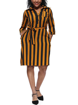Striped 3/4 Sleeves Sheath Knee Length Plus Size Dresses