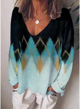 Color Block Geometric Print V-Neck Casual Sweaters