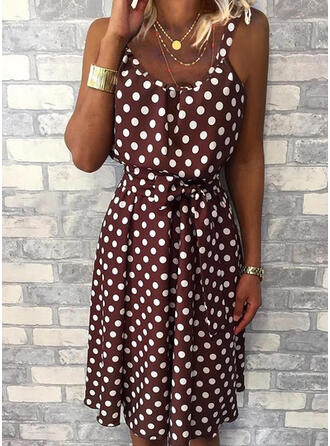 PolkaDot Sleeveless A-line Knee Length Casual Slip/Skater Dresses