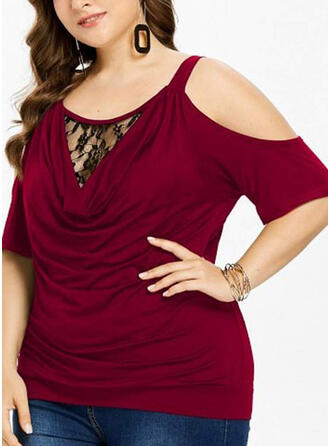 Solid Lace Cold Shoulder Short Sleeves Casual Elegant Plus Size Blouses