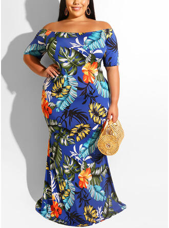 Print/Floral Short Sleeves Sheath Casual/Vacation/Plus Size Maxi Dresses