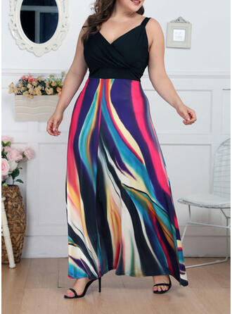 Print Sleeveless A-line Casual/Elegant/Plus Size Maxi Dresses