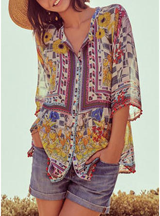 Print Floral V neck 3/4 Sleeves Button Up Casual Blouses