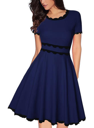 Solid Short Sleeves A-line Knee Length Casual/Elegant Dresses