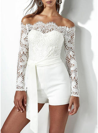 Lace Solid Off-the-Shoulder Above Knee A-line Dress
