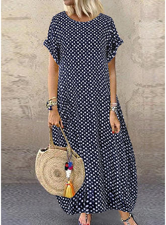 PolkaDot Short Sleeves Shift Casual/Vacation Maxi Dresses