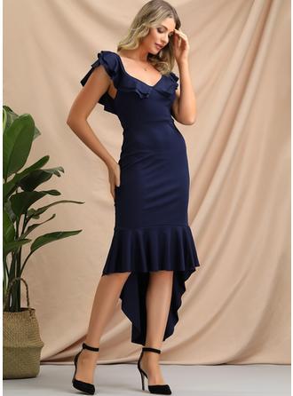 Jednolita Bez rękawów Pokrowiec Asymetryczna Przyjęcie/Elegancki Sukienki