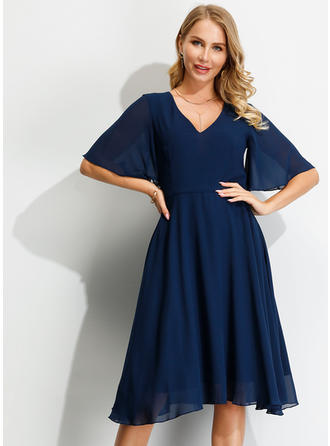 Solid 1/2 Sleeves/Flare Sleeves A-line Knee Length Casual Dresses