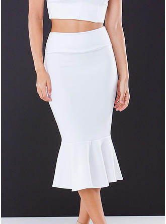 Polyester Solid Color Midi Bodycon Nederdele