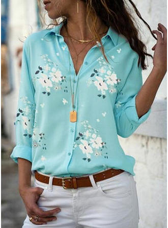 Floral Lapel Long Sleeves Button Up Casual Elegant Shirt Blouses