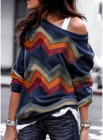Striped One-Shoulder Long Sleeves Casual Knit Blouses