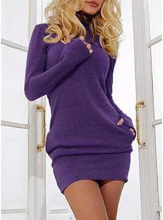 Jednolity Kieszenie Golf Golf Sukienka sweterkowa