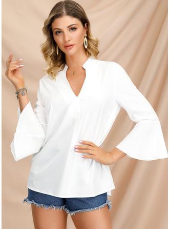 Solid V-Neck 3/4 Sleeves Casual Elegant Blouses