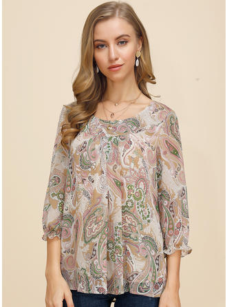 Print Floral Round Neck 3/4 Sleeves Casual Elegant Blouses