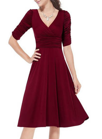 V-neck Knee Length A-line Dress
