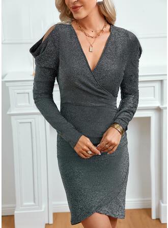 Solid Long Sleeves Cold Shoulder Sleeve Sheath Above Knee Little Black/Elegant Dresses