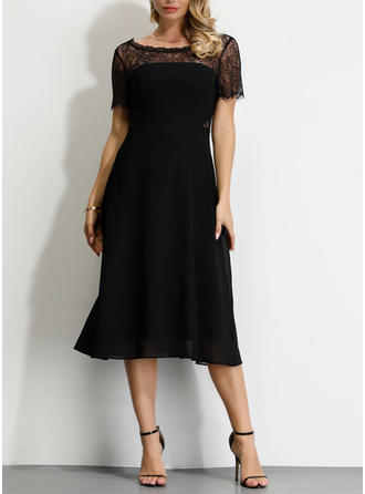 Lace/Solid Short Sleeves A-line Little Black/Party/Elegant Midi Dresses