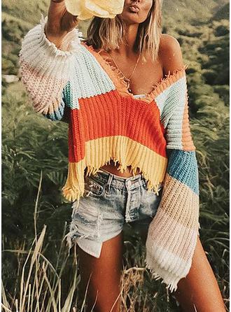 Poliester V-neck Blok Kolorów Swetry