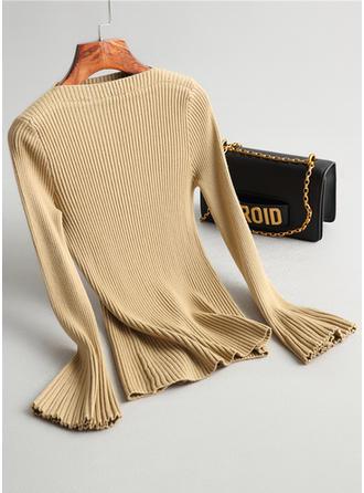 knit Pescoço para barco Cor sólida Canelado Suéteres