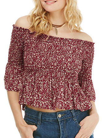 Floral Off the Shoulder 1/2 Sleeves Casual Sexy Blouses