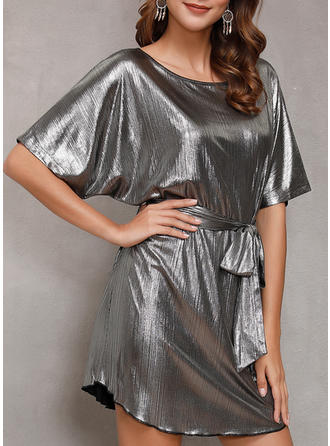 Sequins/Solid 1/2 Sleeves Sheath Above Knee Party Dresses