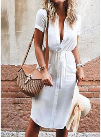 Solid Short Sleeves Sheath Knee Length Casual Dresses