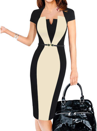 Color-block Square Neck Knee Length Bodycon Dress