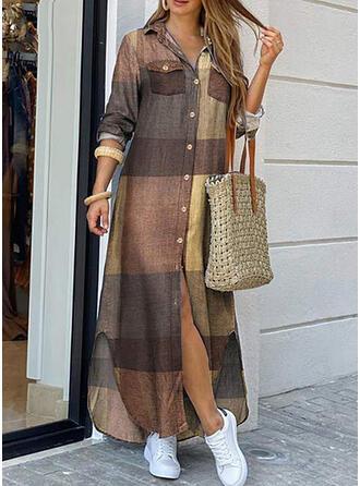 Plaid Long Sleeves Shift Shirt Casual Maxi Dresses