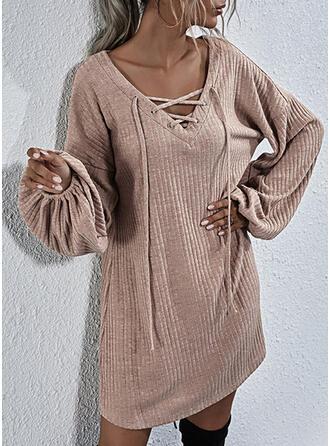 Solid Long Sleeves/Lantern Sleeve Shift Knee Length Little Black/Casual Sweatshirt Dresses