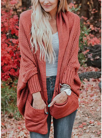 Solid Cable-knit Chunky knit Pocket Sweaters
