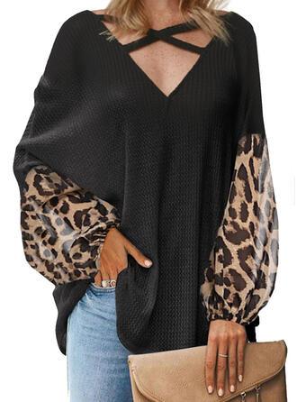леопард V шеи Длинные рукова Повседневная Вязание Блузы