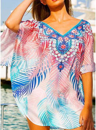 Floral Print V-Neck Bohemian Eye-catching Cover-ups Swimsuits