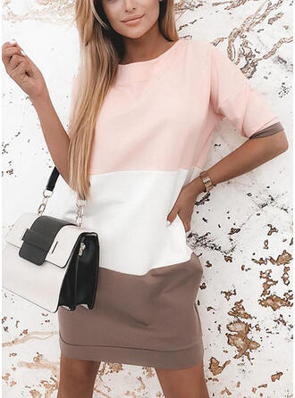Color Block 1/2 Sleeves Shift Above Knee Casual T-shirt Dresses